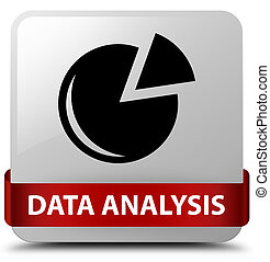 Data analysis (graph icon) white square button red ribbon in middle