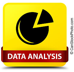 Data analysis (graph icon) yellow square button red ribbon in middle