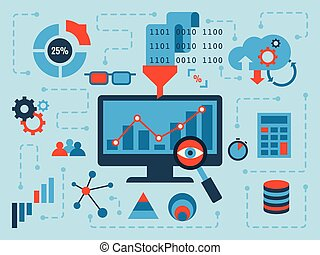 Data Analysis - Illustration of data analysis concept, flat...