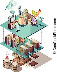 Data Analysis Isometric Concept - Data analysis isometric...