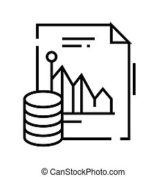 Data analysis line icon, concept sign, outline vector illustration, linear symbol.