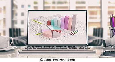 Data analysis on a laptop. 3d illustration