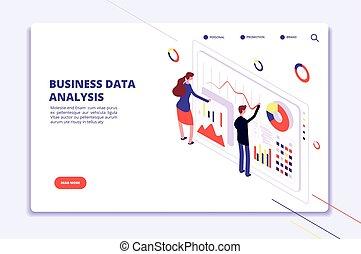 Data analysis. People work on business finance charts. ...