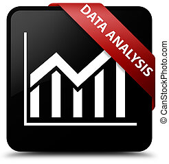 Data analysis (statistics icon) black square button red ribbon in corner