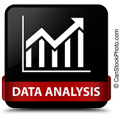 Data analysis (statistics icon) black square button red ribbon in middle