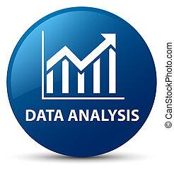 Data analysis (statistics icon) blue round button