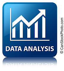 Data analysis (statistics icon) blue square button