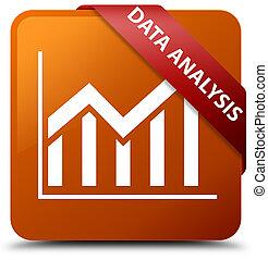 Data analysis (statistics icon) brown square button red ribbon in corner