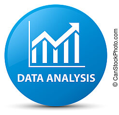 Data analysis (statistics icon) cyan blue round button