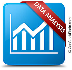 Data analysis (statistics icon) cyan blue square button red ribbon in corner