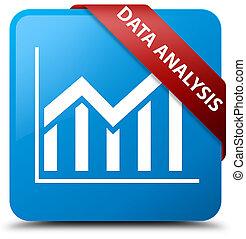Data analysis (statistics icon) cyan blue square button red ribbon in corner