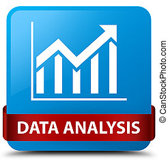 Data analysis (statistics icon) cyan blue square button red ribbon in middle