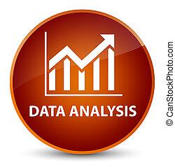 Data analysis (statistics icon) elegant brown round button