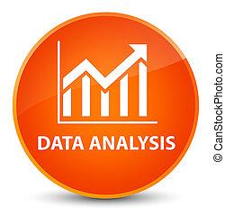 Data analysis (statistics icon) elegant orange round button