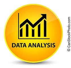 Data analysis (statistics icon) elegant yellow round button