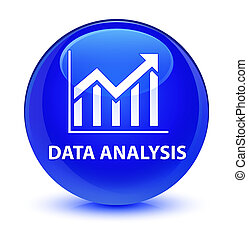Data analysis (statistics icon) glassy blue round button