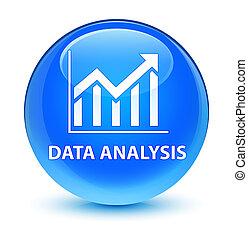 Data analysis (statistics icon) glassy cyan blue round button