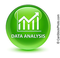 Data analysis (statistics icon) glassy green round button