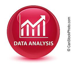 Data analysis (statistics icon) glassy pink round button
