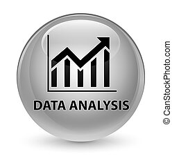 Data analysis (statistics icon) glassy white round button