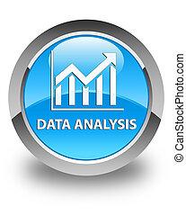 Data analysis (statistics icon) glossy cyan blue round button