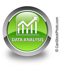 Data analysis (statistics icon) glossy green round button