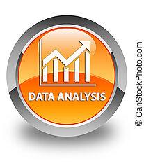 Data analysis (statistics icon) glossy orange round button