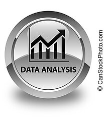 Data analysis (statistics icon) glossy white round button