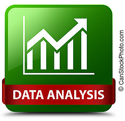 Data analysis (statistics icon) green square button red ribbon in middle