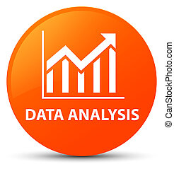 Data analysis (statistics icon) orange round button