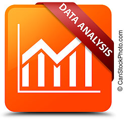 Data analysis (statistics icon) orange square button red ribbon in corner