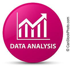 Data analysis (statistics icon) pink round button