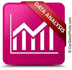 Data analysis (statistics icon) pink square button red ribbon in corner
