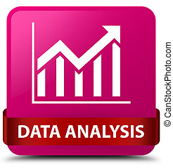 Data analysis (statistics icon) pink square button red ribbon in middle