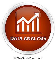 Data analysis (statistics icon) premium brown round button