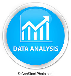 Data analysis (statistics icon) premium cyan blue round button