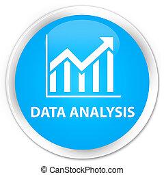 Data analysis (statistics icon) premium cyan blue round button