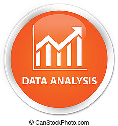Data analysis (statistics icon) premium orange round button