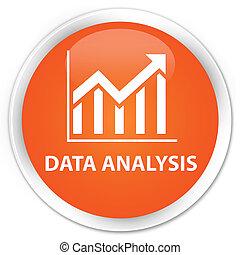 Data analysis (statistics icon) premium orange round button
