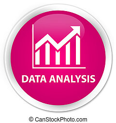 Data analysis (statistics icon) premium pink round button