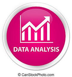 Data analysis (statistics icon) premium pink round button