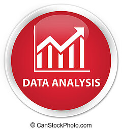 Data analysis (statistics icon) premium red round button