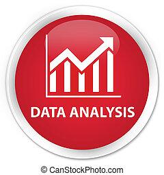Data analysis (statistics icon) premium red round button