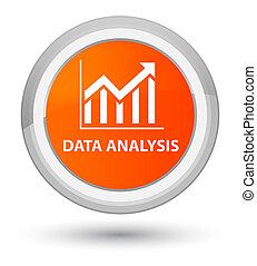 Data analysis (statistics icon) prime orange round button