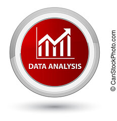 Data analysis (statistics icon) prime red round button