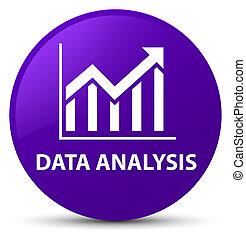 Data analysis (statistics icon) purple round button