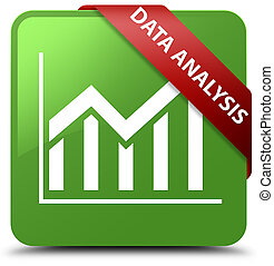 Data analysis (statistics icon) soft green square button red ribbon in corner