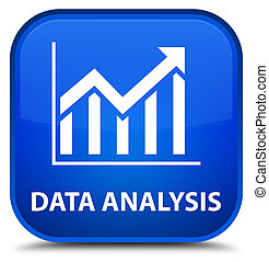 Data analysis (statistics icon) special blue square button