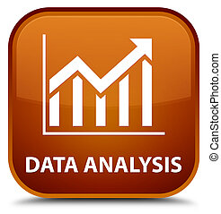 Data analysis (statistics icon) special brown square button