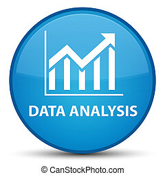 Data analysis (statistics icon) special cyan blue round button